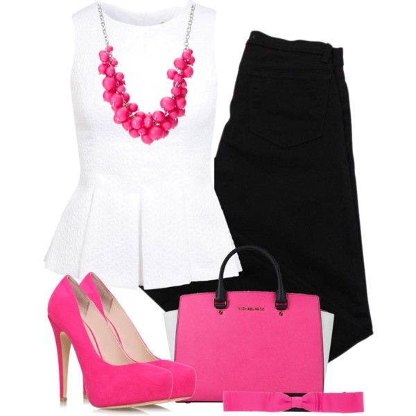 """Black White and Pink"" by cavell on Polyvore"
