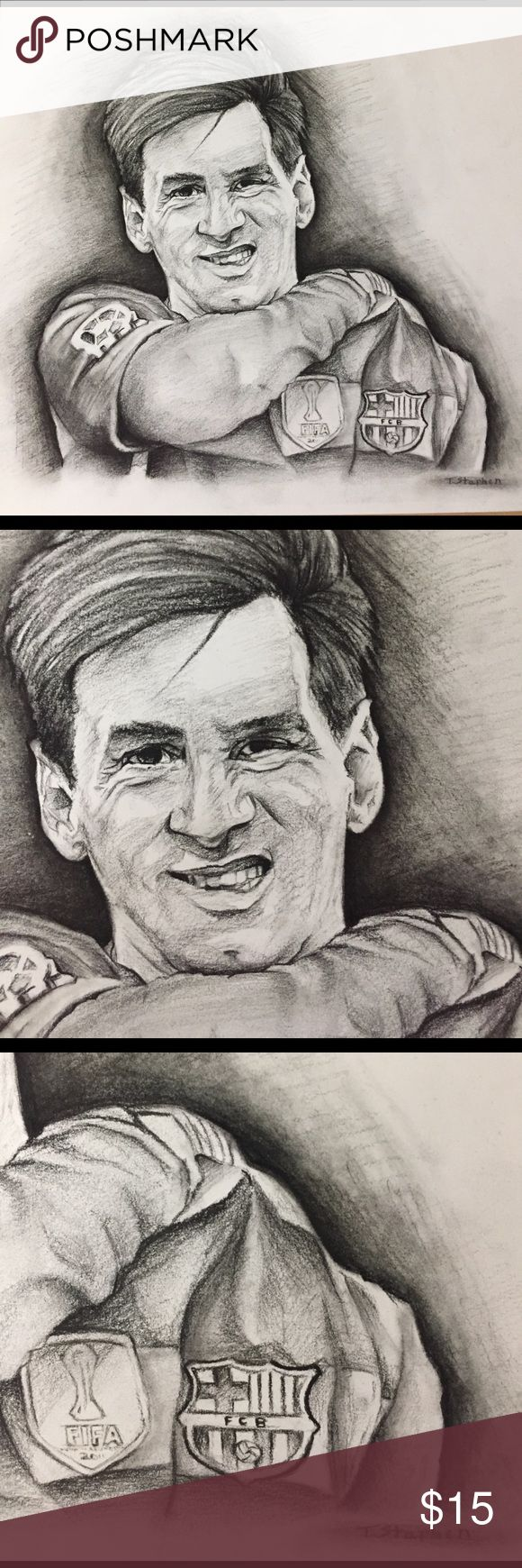 Lionel Messi Original drawing of the legendary Leo Messi.. If you follow sports you should know that this guy is unbelievable at what he does.. Arguably the best player in the history of this earth... The King LEO....Mediums; Charcoal on Cardstock paper.. please view more work on my Instagram @dahodaartist Shirts & Tops