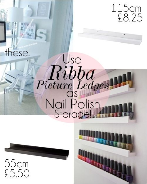 Ikea_Ribba_ledge_nail_polish_storage by makeupsavvycouk, via Flickr