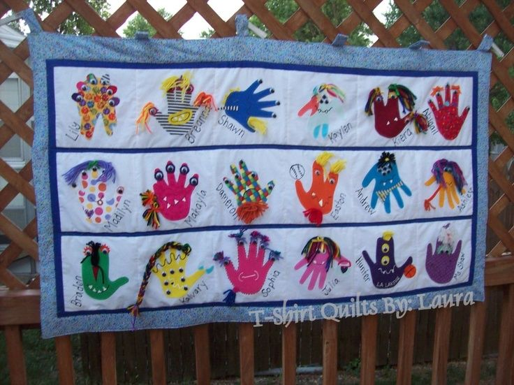 monster hand prints | Found on tshirtquiltsbylaura.wordpress.com