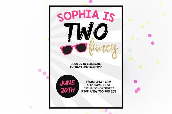 Two Fancy Birthday Invitation 2nd Girl Party Pink Gold Sunglasses Kids Summer Pool