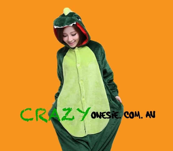 Green Dinosaur Onesie. 25% off EVERYTHING in store. Free Express Delivery Australia-wide. Visit www.crazyonesie.com.au for more details. Visit our Facebook page https://www.facebook.com/crazyonesie for exclusive competitions and discounts