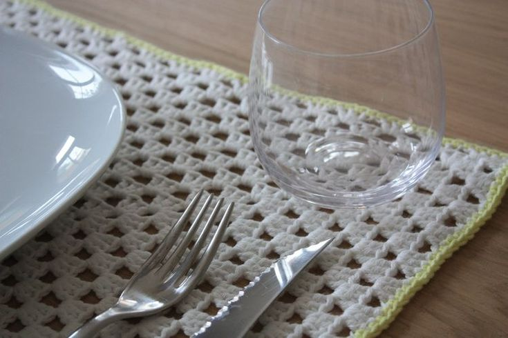 Tuto du set de table rectangulaire crochet pinterest for Set de table rectangulaire