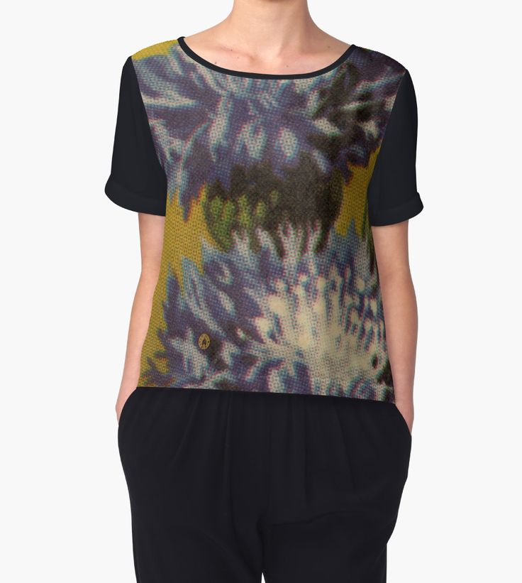"""This is """"Blue Chrysanthemum"""" chiffon top by Fluxionist on Redbubble."""