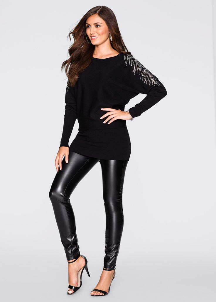 Pullover Nero - BODYFLIRT è ordinabile nello shop on-line di bonprix.it da ? 21,99. Pullover incantevole della BODYFLIRT, con strass applicati sulle spalle ...