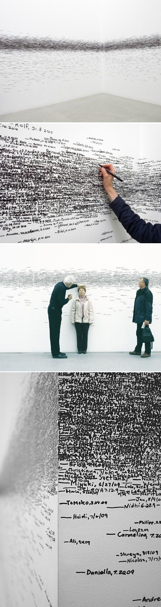 """Roman Ondak, """"Measuring the Universe,"""" a performative installation. Museum goers have their height measured and marked on the wall as they enter the gallery, forming a linear band around the walls."""