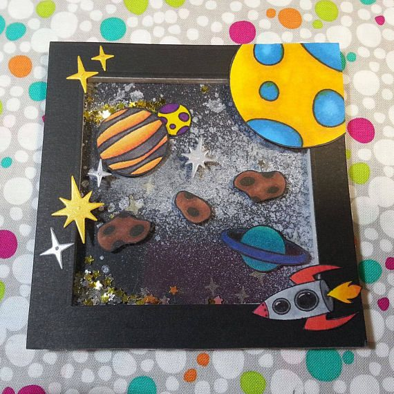 Shaker card made using the Out oF This World space stamp set. Customize your own galaxy with planets, stars, asteroids, UFO, rocket, sun, moon