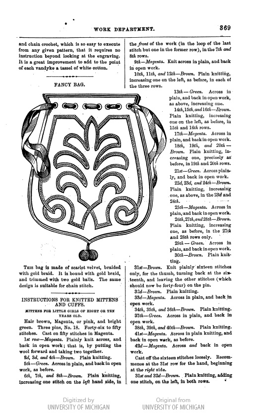 soutache embroidery pattern from 1863! So many applications for today besides a purse: drapery panel edge, pillows, valances.