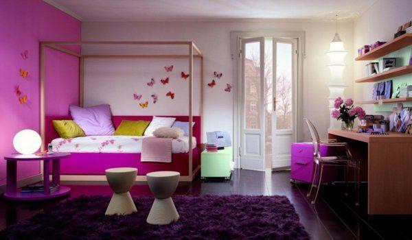 Nursery idea Purple Butterfly pillow bed Desk carpet decoration