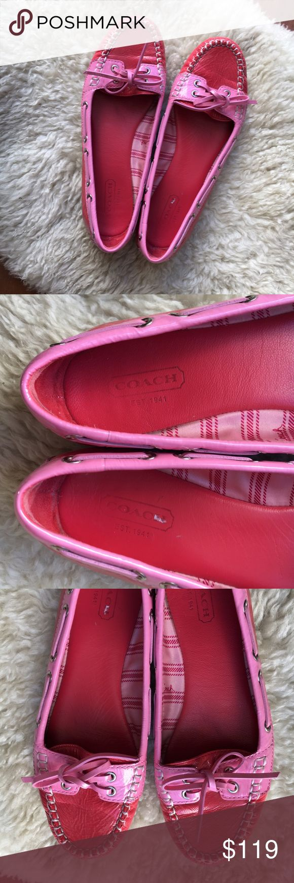 {Coach} Percy Boat Shoe Loafers 6 Like new! Barely worn and practically mint condition. Bright red and pink dock shoes or loafers. So comfortable, classic, cool and just plain chic. Patent leather style glossy leather. Fits true to size. So adorable and perfect Summer flat! Genuine and authentic! Offers warmly welcomed! Coach Shoes Flats & Loafers