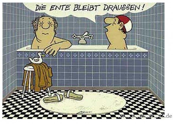 Zwei Herren in der Badewanne -Loriot Humor -Postkarte