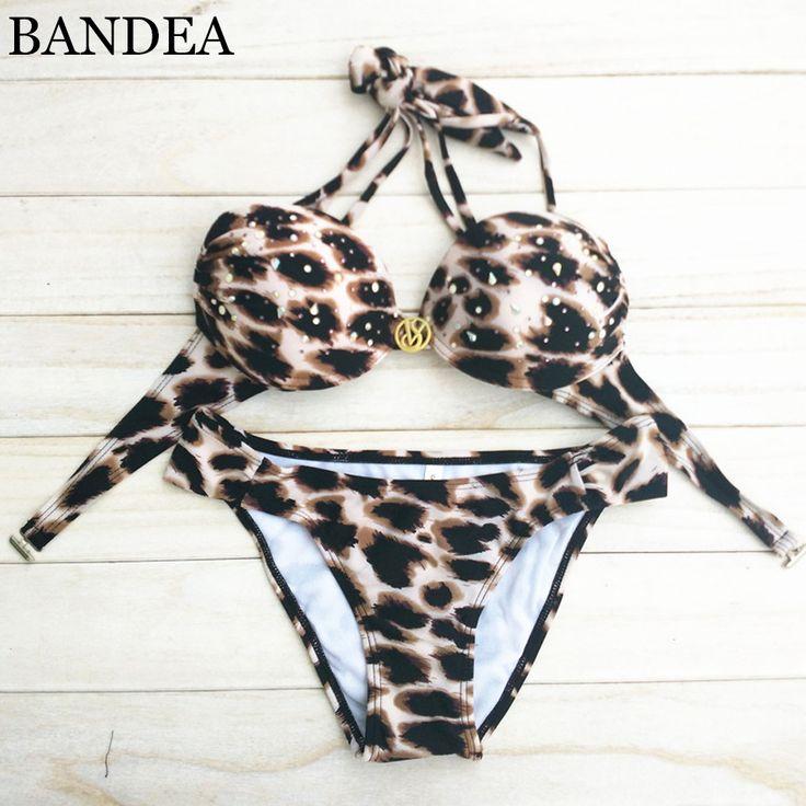 Bandea 2016 donne sexy costume da bagno bikini della stampa del leopardo halter push up costume da bagno biquini brasiliano