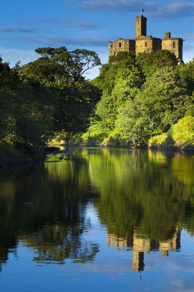 Warkworth Castle reflected, England