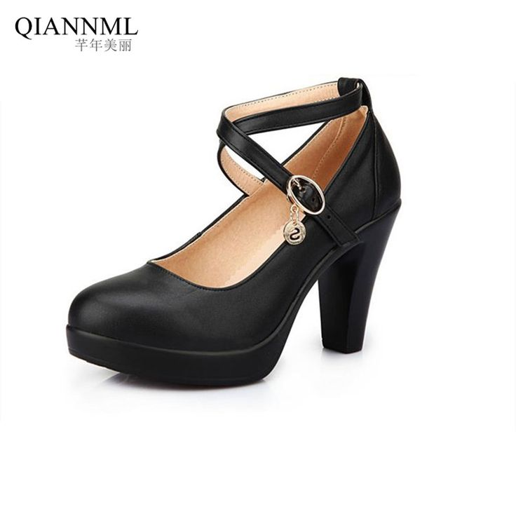New 2017 Spring Summer Women's Black Shoes High Heels Office Genuine Leather Pumps Women Large Size Shoe * AliExpress Affiliate's Pin. Offer can be found on AliExpress website by clicking the VISIT button