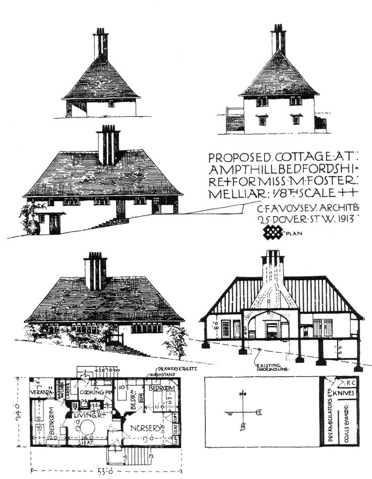 Cottage by cfa voysey 1913 becket house references for Residential architectural drawings