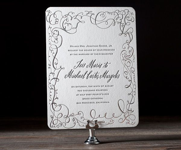 Letterpress printed with love on classic antique presses, invitation design ideas don't come any more sophisticated than fine hand drawn calligraphy.