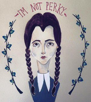 Wednesday Addams portrait. This gothic girl was hand painted with gouache.