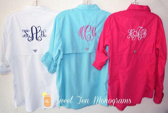 Women 39 s monogrammed bahama columbia pfg by for Columbia cotton fishing shirt
