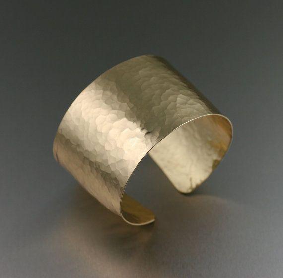 Hammered Nu Gold Cuff Bracelet - Gold Cuff Bracelet ---- Handmade Jewelry by John S Brana