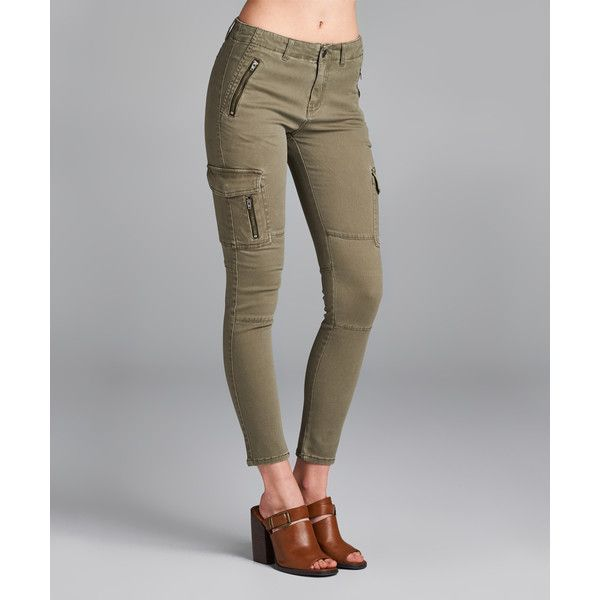 Spicy Mix Olive Crop Cargo Pants ($30) ❤ liked on Polyvore featuring pants, capris, cargo pants, slim fit cargo pants, slim cropped pants, slim cargo pants and olive green cargo pants