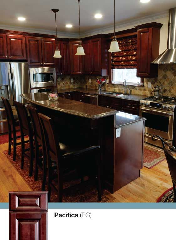 KCK kitchen cabinets - Pacifica - Solid American Maple Cabinets - a kitchen featuring stainless steel appliances and granite counter-tops by Kitchen Cabinet Kings. Buy cabinets online and save with cheap prices!
