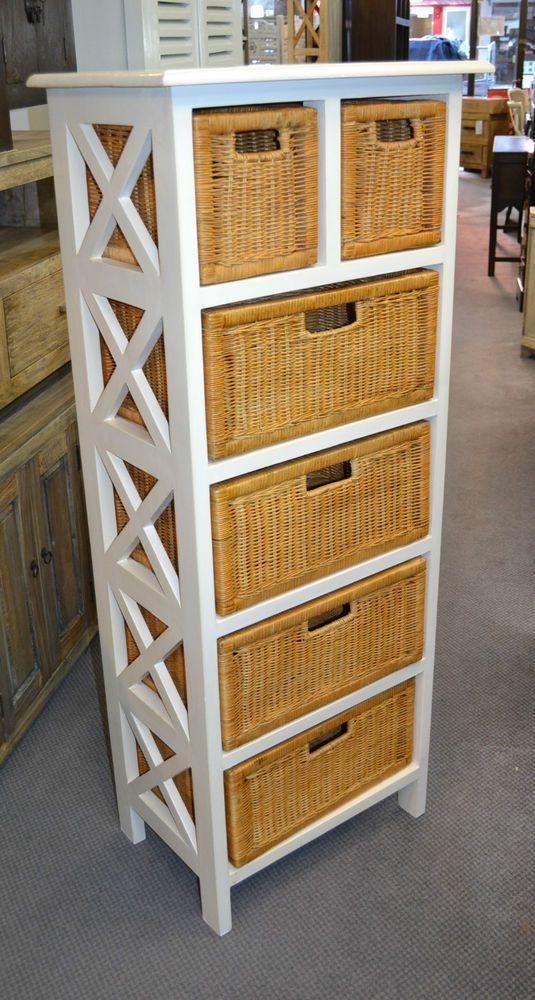 White Mahogany Wood And Wicker Tall Basket Storage Unit