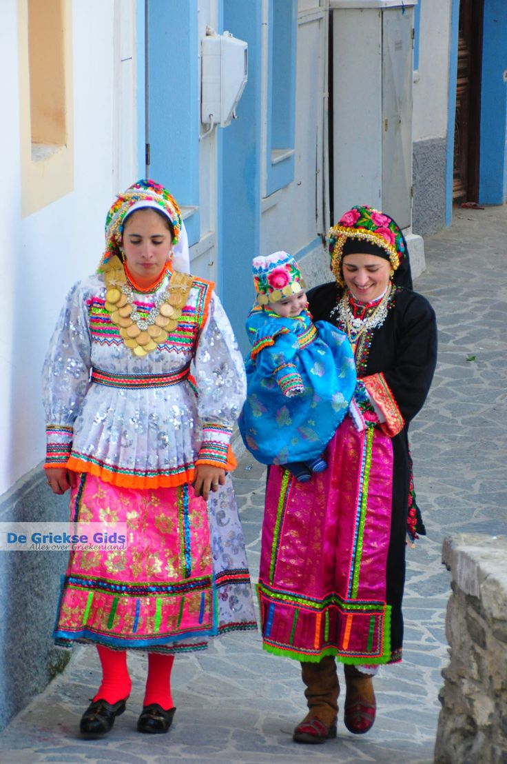 Women with Traditional costumes from Olympos, Karpathos island, Greece