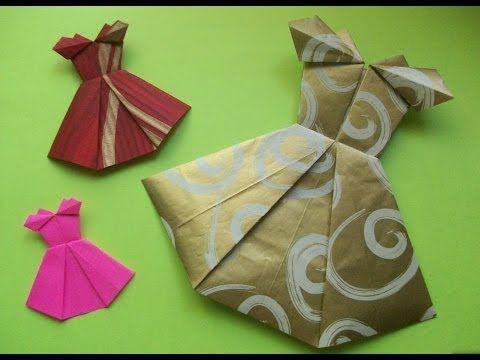 Как сделать открытки своими руками из бумаги. Платье оригами – Origami Dress Card origami tutorial, origami dress instructions