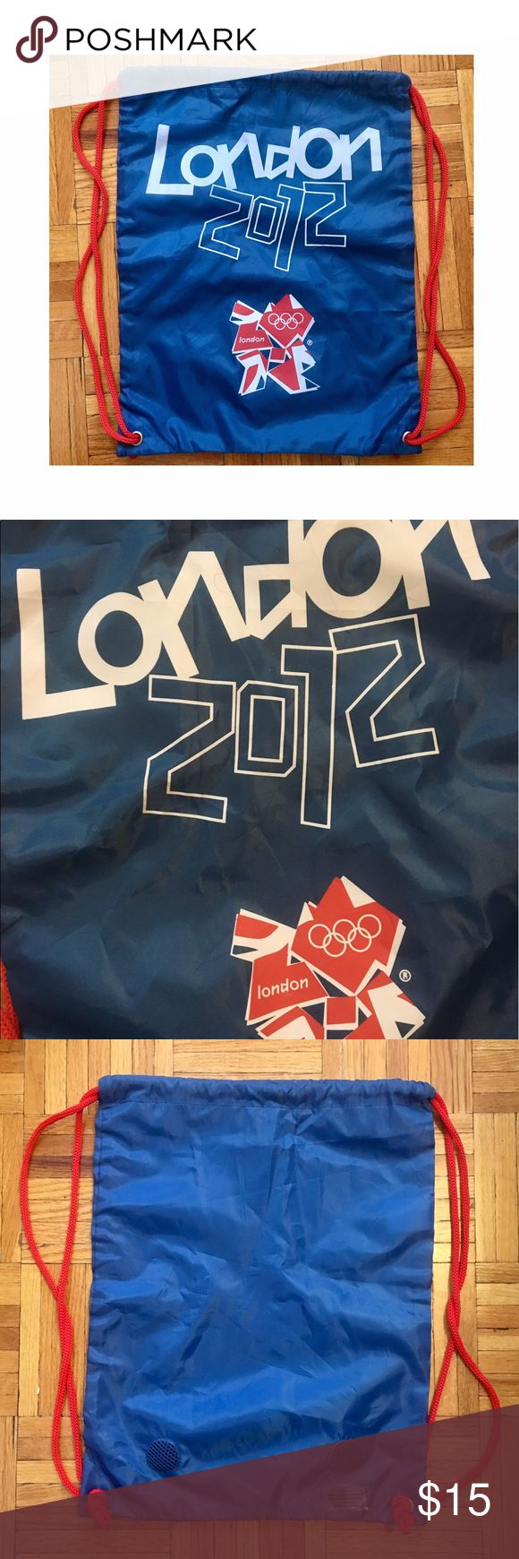 London 2012 Olympics drawstring bag Authentic London 2012 memorabilia. Drawstring backpack with blue sack and red strings. London 2012 Olympic logo on back. 2 vents to avoid stinky gym smells on the bottom. Only used once; in excellent condition, other than being a little wrinkled from being in my closet. (Listed under Adidas because my other London 2012 drawstring bag was Adidas, and got exposure) adidas Bags Backpacks