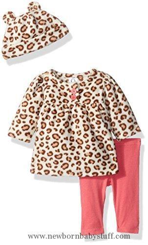 Baby Girl Clothes Gerber Baby 3 Piece Micro Fleece Top, Pant and Cap Set, leopard, 3-6 Months