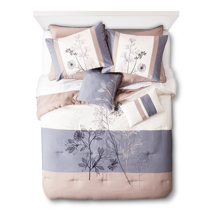 <p>Pretty things up with a Hampshire Floral 8-Piece Comforter Set. This unique bedding brings beautiful design and modern colors to your room. It's embellished with intricate embroidery and delicate pleating. Plus, it's made with super soft fabric and plush filling. Each set gives you a reversible comforter, bedskirt, 2 European pillow shams, 2 standard pillow shams and 2 throw pillows. Just add a matching sheet set to put together the bed of your dreams.&#...