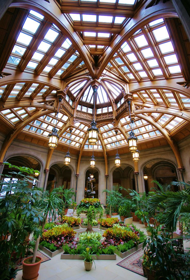 Winter Garden inside #BiltmoreHouse in Asheville, North Carolina. More #Biltmore photos: www.romanticasheville.com/Biltmore.html
