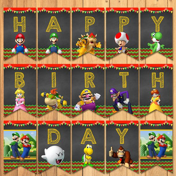 Super Mario Brothers Birthday Banner Chalkboard  by SometimesPie                                                                                                                                                                                 More