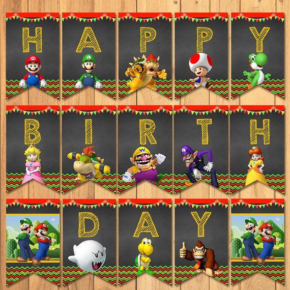 Super Mario Brothers Birthday Banner Chalkboard  by SometimesPie