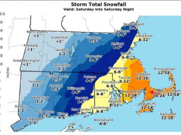 RI Weather Forecast: Up to a Foot of Snow Expected Saturday