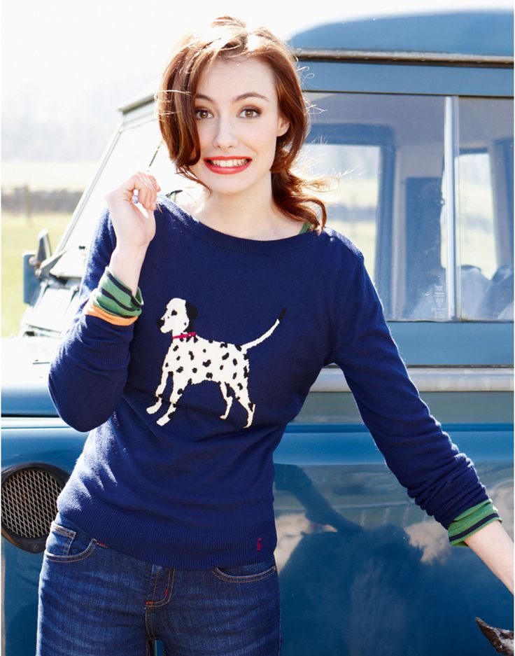 MARSHA Womens Knitted Animal Print Jumper, Navy // Joules