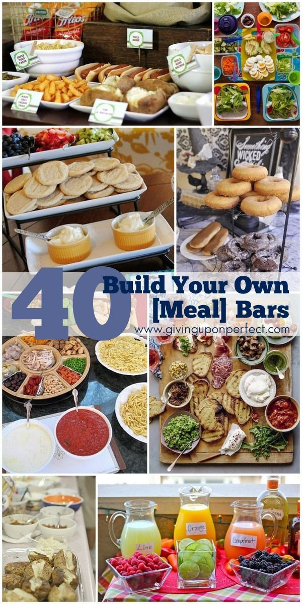 Planning a Superbowl, New Year's Eve or 4th of July party? Here are 40 Ideas for Build Your Own {Food} Bars - fun and easy!