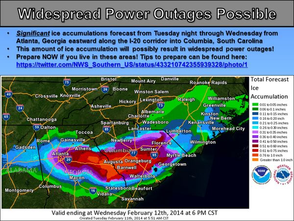 "twitter/ ""NWS_Southern_US: Widespread Power Outages Possible from Atlanta, GA eastward into Columbia, SC. Prepare NOW!"" 2/11/14"