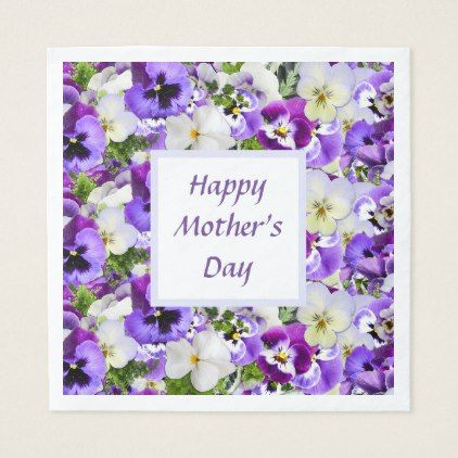 Custom Purple Floral Happy Mother's Day Napkin - kitchen gifts diy ideas decor special unique individual customized