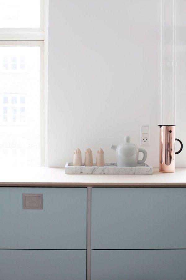 Lovely kitchen from the Danish company TVIS styled by Katrine Kaul #kitchen #allgoodthingdanish #tvis #pastel