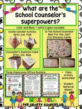 What are the School Counselor's Superpowers? 50% OFF FOR 48 HOURS ONLY!!! PRICE WILL INCREASE TO $6.99!!Looking for a way to introduce yourself to classes? Want to spice up your current introduction activities? Look no further, this is the download for you!!!!!Included in this download:School Counselor Superhero Cootie Catcher.