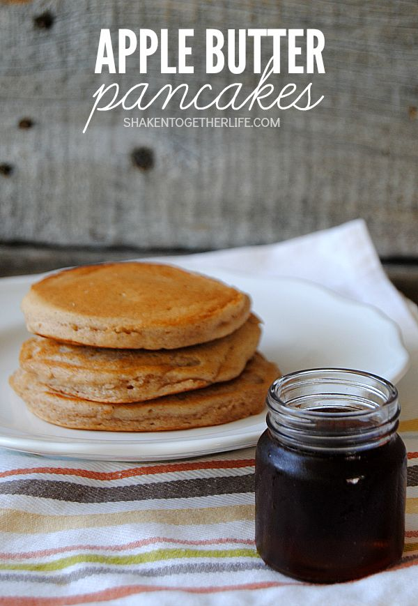 Apple Butter Pancakes! Soft, fluffy stacks of golden brown apple butter pancakes, speckled with warm apple pie spices and drenched with warm maple syrup make the perfect morning breakfast!  And with only 4 ingredients, they are easy to whip up before school or on a lazy Sunday morning! Inspired by @crackerbarrel!  {ad}
