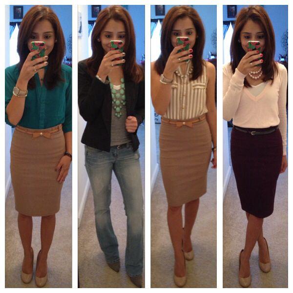 OFFICE: khaki pencil skirt + blue green twist sleeveless top + gold belt + gold slip ons #work