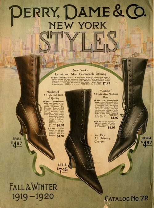 "Perry, Dame, & Co. - Boots for Women  Fall& Winter 1919-1920.  ""Campus"", a distinctive walking !! boot  New-York Styles.Boots Women, Distinctive Walks, Boots New York, Woman Shoes, Winter Boots, Boots Style, New York Style, Fall Winter, Winter 1919 1920"