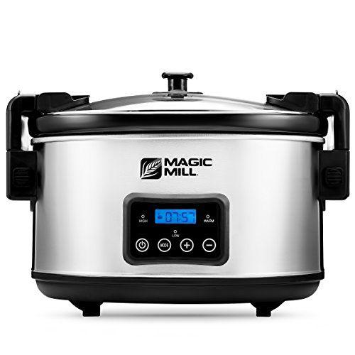 nice Magic Mill 8.5 Quart Slow Cooker, Digital Programmable Crock Pot, 20 hour Timer, 3 Cooking Settings, Locking Lid for Easy Transport, Dishwasher Safe