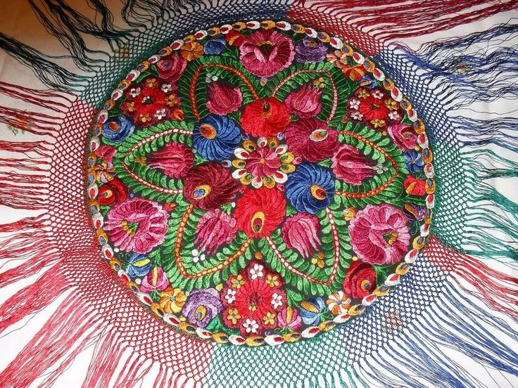 Antique MATYO SILK EMBROIDERED TABLECLOTH set Hungarian Art Nouveau Multi-Color
