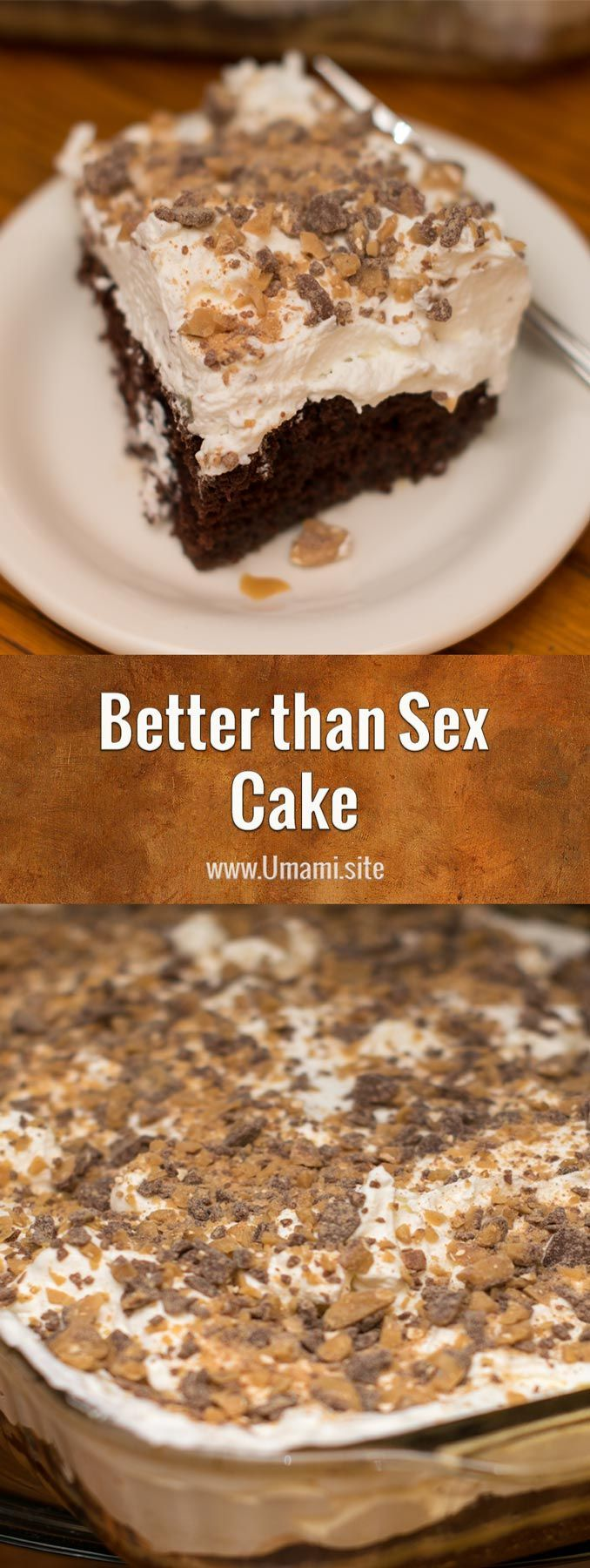 Better than Sex Cake is a sinful dessert with questionable intentions that gets to know you with a little devil's food cake, pours on the caramel, and finishes everything off with a little whip cream.