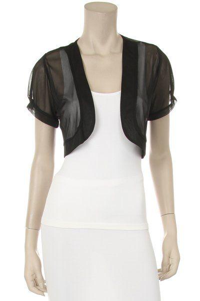 Black Shrug Short Sleeve Chiffon Sheer Bolero Jacket $29.99