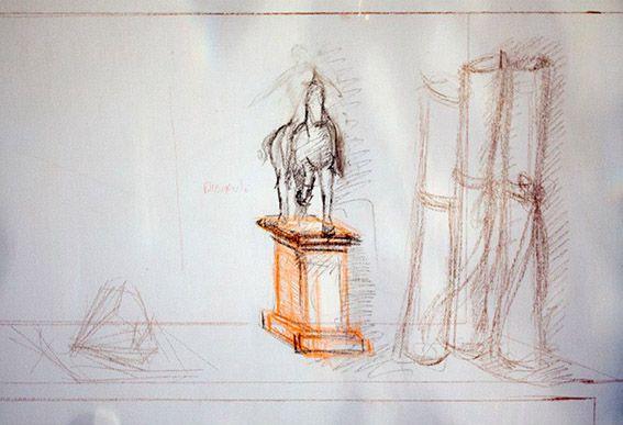 """Cavallo con diamanti e pegamena - Bozzetto Trompe l'oeil - """"Percorso"""" situato a Baiano eseguito da Pasquale Scognamiglion"""
