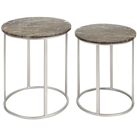 Set Of Two Marble Topped Accent Tables With Open Metal Bases.Product: Small